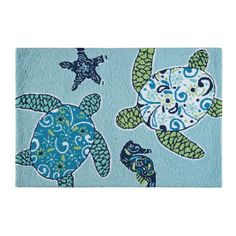 <p> The Meridian Waters Sea Turtle Rug is not just for your vacation home.This coastal theme rug features sea turtles, seahorse and starfishon a  tropical shade of blue background. This is a bright and exciting  accent rug. The colors and design are perfect for a beach or tropical  decor.  </p> <p> This Imperial Coast Sea Turt...