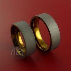 Titanium and Bronze Matching Ring Set Custom Made