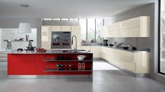 Red Island Kitchen Cabinets #colorfulkitchencabinets #colorfulkitchendesign #slargekitchenideas