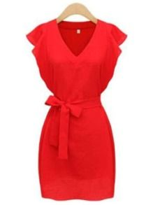 Shop Red V Neck Ruffle Sleeve Self-Tie Dress online. SheIn offers Red V Neck Ruffle Sleeve Self-Tie Dress & more to fit your fashionable needs. Red Short Sleeve Dress, Red V Neck Dress, Ruffle Sleeve Dress, Tie Dress, Dress Red, Romwe, Spring Dresses, Short Dresses, Dresses For Work