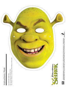 Shrek Photo Booth Props: Free Printable Shrek Mask - Any Tots Printable Halloween Masks, Printable Masks, Free Printables, Printable Party, Fiona Y Shrek, Shrek Donkey, Mask Party, Photo Booth Props, Mask For Kids