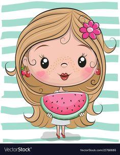 Cute cartoon girl with watermelon vector image on VectorStock Cartoon Cartoon, Girl Cartoon Characters, Cartoon Kunst, Cute Cartoon Girl, Cute Love Cartoons, Cartoon Drawings, Cute Drawings, Watermelon Cartoon, Tricot Facile