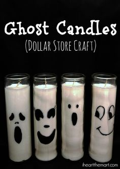 31 Days of Halloween! {Day DIY Dollar Store Ghost Candles 31 Days of Halloween! {Day DIY Dollar Store Ghost Candles The post 31 Days of Halloween! {Day DIY Dollar Store Ghost Candles appeared first on Halloween Decorations. Diy Halloween Ghosts, Dollar Tree Halloween, Halloween Candles, 31 Days Of Halloween, Vintage Halloween, Halloween Party, Diy Halloween Decorations For Outside, Halloween Ideas, Diy Ghost Decoration