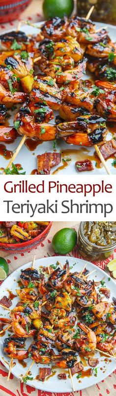 Teriyaki Grilled Shrimp and Pineapple                                                                                                                                                                                 More #seafoodrecipes #Grillingtips