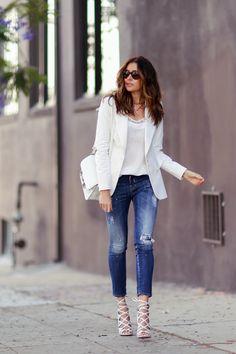 White blazer and Aquazzura lace-up sandals