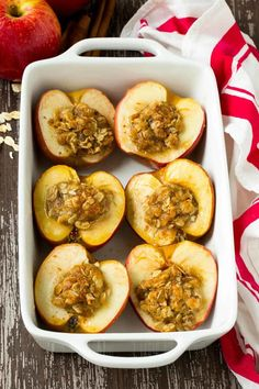 This baked apples recipe is THE BEST! They are stuffed with a wholesome mixture of oats, coconut sugar and cinnamon for a healthier treat! Dairy Free Apple Recipes, Baking Recipes, Vegan Recipes, Dessert Recipes, Delicious Recipes, Healthy Treats, Healthy Baking, Healthy Desserts, Veggie Frittata