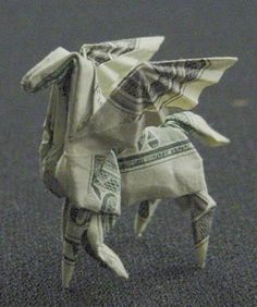 pegasus made from dollar bill origami by won park #EasyNip