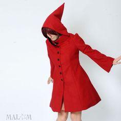 Rojo con capucha capa con cuello alto - abrigo rojo, las mujeres abrigo - duende capucha capa - tamaño S-M