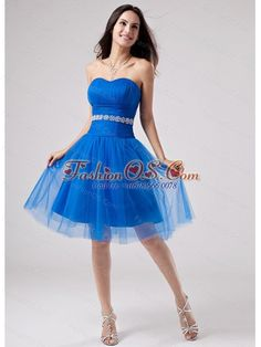Beading Strapless A-Line Knee-length Prom Dress Tulle- $107.45  http://www.fashionos.com  where to get prom dress | 2013 fashionable prom dress | blue prom dress |