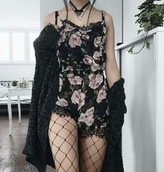 Flower Romper paired with Lace Fishnets, Black Kimono and Layered Necklaces.