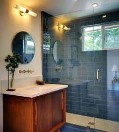 Could we incorpate a vanity like this to our green sink and tub bath? Add the modern glass to shower?