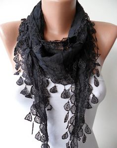 New Trend - Mother's Day Gift - Cotton Scarf with Black Trim Edge - Lightweight on Etsy, $15.90
