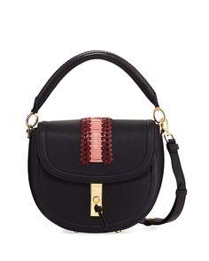 Ghianda Pebbled Stitched Saddle Bag