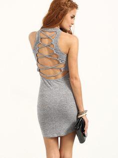 90fcf7247e Grey Crisscross Back Sleeveless Bodycon Dress Short Summer Dresses