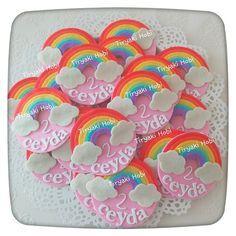 ♥ Tiryaki Hobi ♥: Keçe bebek şekeri / doğumgünü magneti - gökkuşağı (CEYDA)  --------   felt rainbows