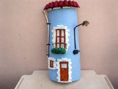 HANDMADE VINTAGE Unique PAINTED Roof Tile Country House