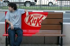 An excellent use of a park bench to #advertise and #market kitkat bar.
