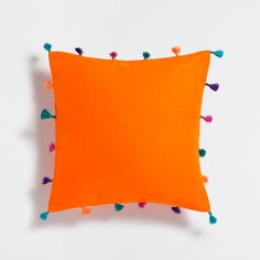 Zara Home Orange Appliqué Cushion ($30)