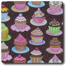 sugar rush the works cupcakes brown Dan Morris, Cupcake Images, Novelty Fabric, Good Enough To Eat, Sugar Rush, Mini Cupcakes, Fabric Patterns, Sweets, Desserts
