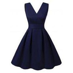 #Valentines #AdoreWe #trendsgal.com - #Trendsgal V Neck Cut Out Pin Up Dress - AdoreWe.com