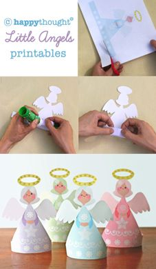 Click here to visit Happythought for super fun printables. Little Angels http://printablepaperproducts.com/printable-crafts/christmas-angels-3-95