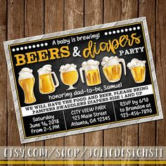 Beers & Diapers Guys Baby Shower Invite BBQ Cookout Invitation First Time Dad Diaper Party Brews Baby Is Brewing Man Shower Dad Shower Baby Shower For Men, Idee Baby Shower, Man Shower, Diaper Shower, Shower Bebe, Baby Shower Themes, Shower Ideas, Shower Party, Shower Gifts