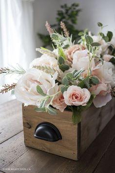 DIY Faux Floral Arrangement: Feminine Yet Rustic Crate - http://akadesign.ca/diy-faux-floral-arrangement/ #michaelsmakers #madewithmichaels #spottedatmichaels