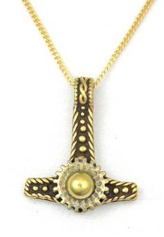 nice Steampunk Clockwork Gear Thor's Hammer Bronze Pendant Necklace Made in USA