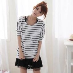 $5.17 Casual Style Scoop Neck Bat-Wing Stripe Pattern Loose-Fitting Cotton T-Shirt For Women