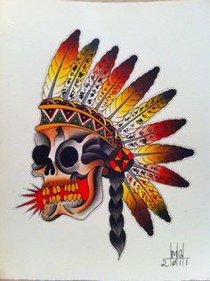 Native Skull Tattoo Flash | KYSA #ink #flash #tattoo