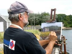 2013 - artist Steve Kennedy working on his painting of the Mitchell River bridge, Chatham, MA.  This wooden drawbridge was demolished in 1914 after being deemed structurally insufficient.  A steel and concrete bridge will replace it.  (The new bridge will probably not be as appealing to artists!).  Photo courtesy of Cape Cod Plein Air Painters