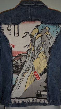 womens denim jean jacket embellished with asian by sovintagetastic