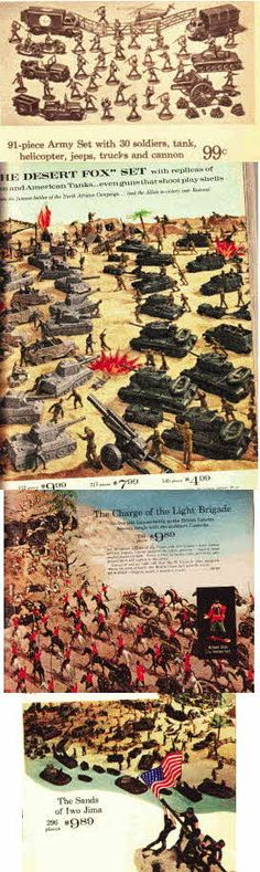 Featured Soldier Sets In This Picture include 91 piece Army Soldiers Set Includes Tanks and artiliary, Set of Soldiers and Tanks to be the Desert Fox, Charge of the Light Brigade set and Toy Soldiers and models used during the taking of Iwo Jima
