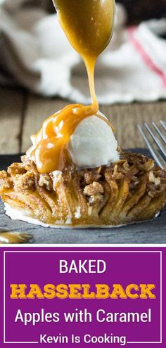 These Baked Hasselback Apples open like a fan and the sweet streusel melts in between each slice for one tasty dessert. Topped with ice cream and caramel. #apple #hasselback Recipes Using Fruit, Apple Recipes, Fall Recipes, Sweet Recipes, Bean Recipes, Party Recipes, Great Desserts, Healthy Dessert Recipes, Summer Desserts