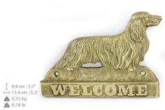 Dachshund long haired dog welcome hanging by ArtDogshopcenter
