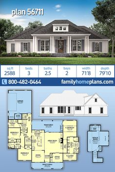 New 3 Bedroom Acadian Style House Plan has 2588 Sq Ft, 3 beds, 2 baths and a Deep Rear Porch Acadian home plan with. Acadian Homes, Acadian House Plans, French Country House Plans, Southern House Plans, Family House Plans, Ranch House Plans, Craftsman House Plans, New House Plans, Dream House Plans