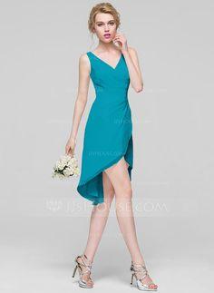 A-Line Princess V-neck Asymmetrical Chiffon Bridesmaid Dress With Ruffle  (007090174 474333de3