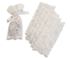 Set of 6 Lace Favor Bags Ivory