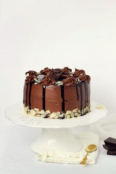 ... chocolate fudge cake with chocolate sour cream frosting ...