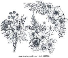 Trendy flowers illustration black and white hand drawn Flower Tattoo Designs, Flower Tattoos, Flower Images, Flower Art, Pattern Vegetal, Composition Drawing, Bouquet, Hand Drawn Flowers, Floral Illustrations