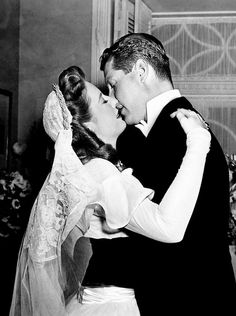 Barbara Stanwyck and Robert Cummings in a deleted scene from The Bride Wore Boots (1946)