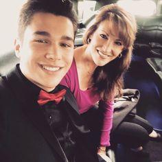 Austin & his mom♡ Austin looks so handsome.