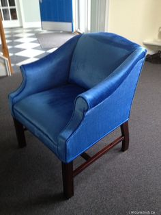 Petite Scrolled Arm Chair - electric blue Greenhouse fabric.  High performance with a distinct nap to give the crushed velvet look.  Neat upholstery project for an artist's home in New Jersey.