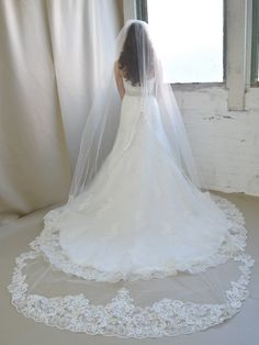 Royal Cathedral  Length Extra Wide Lace Elena Designs Wedding Veil--Affordable Elegance Bridal -