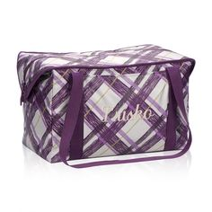 """Fresh Market Thermal in Plum Plaid. This roomy thermal can fit up to two 9""""x13"""" pans inside, so it's perfect for potlucks and family picnics! It also has expandable sides that are just the right size to fit 2-liter bottles inside. Plus, it comes with long handles so it's super easy to carry!"""