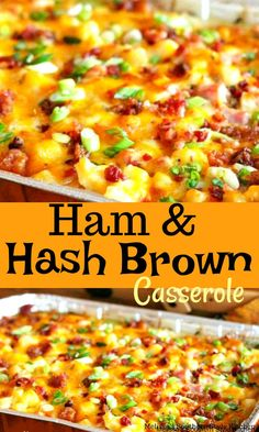 Whether you're cooking for a holiday party or family brunch, this cheesy Ham And Hash Brown Casserole is a potluck lovers dream. Ham Recipes, Brunch Recipes, Casserole Recipes, Breakfast Recipes, Cooking Recipes, Healthy Recipes, Breakfast Ideas, Dinner Recipes