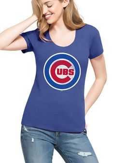 '47 Chicago Cubs Womens Knockaround Club Blue Scoop T-Shirt