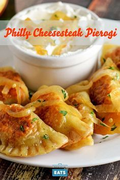 Polish pierogi get a Philadelphia-style twist with a gooey cheesesteak filling with shaved beef, caramelized onions, and both provolone and mozzarella cheeses.