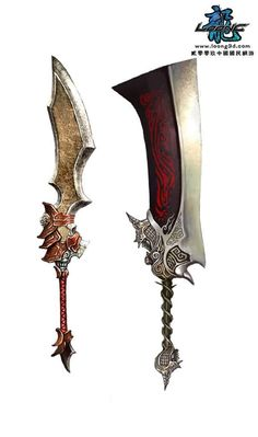 Would these work as true weapons in the real physics of the world? Fantasy Blade, Fantasy Sword, Fantasy Weapons, Fantasy Rpg, Medieval Fantasy, Cool Swords, Sword Design, Cosplay Weapons, Medieval Weapons