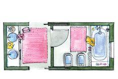 Un baño colorido y funcional - Lucrecia Álvarez - ESPACIO LIVING
